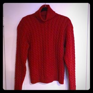 Neiman-Marcus Red Cashmere cable knit turtleneck